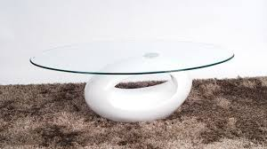 oval glass coffee table with white high gloss base