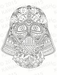 Small Picture day of the dead darth vader mask adult coloring page by Kawanish