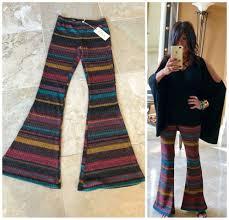 Bell Bottom Pajama Design Elan Boho 70s Painted Desert Striped Bell Bottom Flare Leg