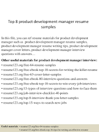 Top 8 product development manager resume samples In this file, you can ref  resume materials ...