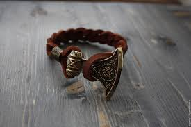 bracelets handmade leather bracelet with axe of perun bracelet perun the slavic bracelet
