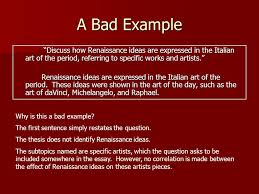 the ap european history response question ppt  a bad example discuss how renaissance ideas are expressed in the italian art of the period