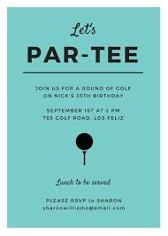 Golf Invitation Template Turquoise Golf Party Invitation Templates By Canva
