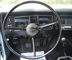 the chevelle 300 came with a simple 3 spoke wheel with center horn on color coordinated to match the interior the steering wheel came in black blue