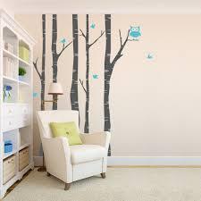 on white birch tree wall art with birch tree wall decal with birds tree and owl wall decal