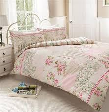 New pink vintage rose patchwork duvet set - double quilt cover bed ... & New pink vintage rose patchwork duvet set - double quilt cover bed set Adamdwight.com