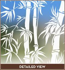 tropical etched glass window design big bamboo see thru