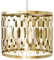 worlds away 3 light gold leaf wire drum pendant leona g