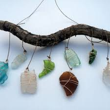 sea glass window art beach glass sun catcher nautical decor upcycled glass wall hanging driftwood art