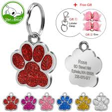 Glitter Engraved Tags Id Dogs Gift Stainless - For Small Bows Tag Steel Hair Free Paw And Custom Cats Personalized Pet