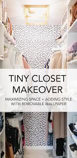 tiny closet makeover diy closet design removable black ad white spot wallpaper