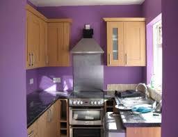 fashionable purple small kitchen ideas with walnut oak kitchen cabinets and black granite countertops