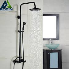 black shower faucet luxury bronze black bathroom shower bath faucet dual handles in wall washing room