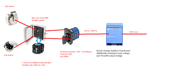 victron energy isolation transformer 3600w 115 230v 32 16a the output of the transformer is user selectable but in this drawing has been chosen to be 230 volts the frequency is not changed 50 hz in is 50 hz out