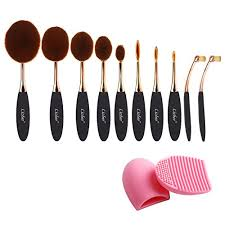 amazon pro 10 pcs new fashion makeup brush set super soft oval toothbrush foundation concealer blush contour eyebrow eyeliner brush multifunctional