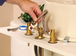 install bathroom sink faucet. connect the faucet valves to body, using flexible tubing. install bathroom sink m
