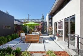 modern concrete patio. Modern Concrete Patio Ideas With Door Exterior Tin Roof