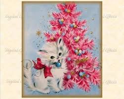 Pink Christmas Card Retro Christmas Card Digital Download Vintage Kitty Christmas Etsy