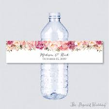 wedding bottle label wedding bottle water labels wedding bottle wrappers pink flower