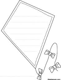 Small Picture High flying Kite Shape Paper Coloring Sheet with Lines for Writing