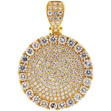 mens diamond round medallion pendant