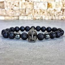 HOT Fashion <b>charm bracelet men</b> Spartan Warrior Helmet lava ...