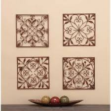 decmode assorted leaf scrollwork motif wall panel set of 4 on wall art 4 piece set with 4 piece wall art hayneedle