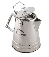 Once the water starts boiling, take the percolator away from the direct flame to lower the heat. L L Bean Stainless Steel Percolator 14 Cup