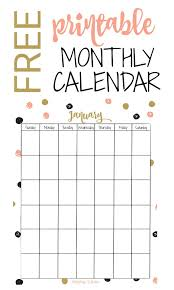Printable Free Monthly Calendars Free Vertical Printable Monthly Calendar Keeping Life Sane