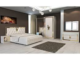 Schlichter Schlafzimmer Set Lux Kunstleder Weißgold Schrank 2