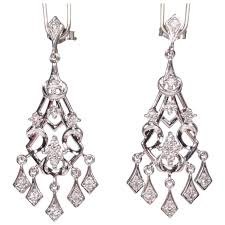 14k white gold diamond chandelier earrings pierced post size medium