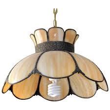 vintage slag glass pendant lamp hanging lampshade bronze brass smoky glass lighting