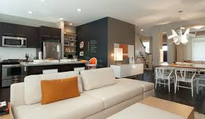 decor modern sofa and kitchen island with accent walls small open floor plans plan living room enchanting design ranch ideas house cabin home designer villa