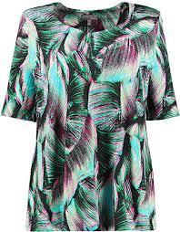 Ulla Popken <b>Women's</b> Plus Size Bright Jungle <b>Leaf Print Knit</b> Top ...