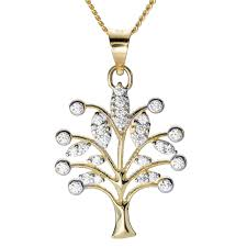 las shipton and co 9ct yellow gold and cubic zirconia tree of life pendant including a 16 9ct chain tem074cz from shipton and co uk