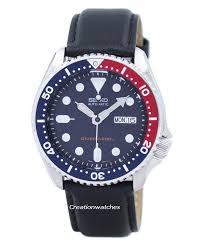 seiko automatic diver s 200m ratio black leather skx009k1 ls10 men s watch