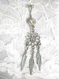 Dream Catcher Belly Button Rings DAISY FLOWER DREAM CATCHER w 100 DANGLING FEATHERS 100g CLEAR CZ 83
