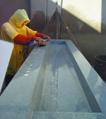 wet grinding a concrete countertop to get a smooth surface is a step in processing a