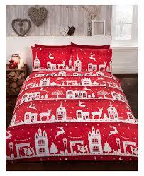 reindeer road brushed cotton single duvet cover set red