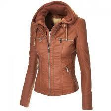 women brown hooded leather jacket original lambskin leather jacket