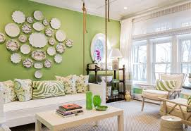 a green and white living room
