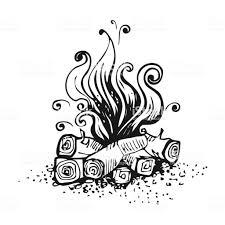 キャンプファイヤー木製の丸太に火黒と白のグラフィックのベクター