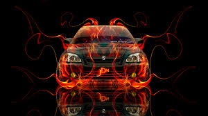 honda s00 fire abstract car