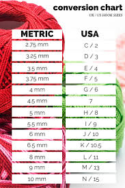 crochet hook size chart crochet conversion charts lucy kate crochet