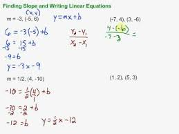 finding slope and writing linear equations in slope intercept form inside slope intercept form equation