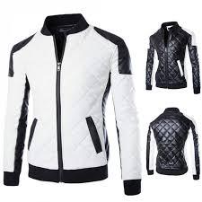 men quilted slim pu baseball jacket men leather softshell jackets men collar mens jackets coats