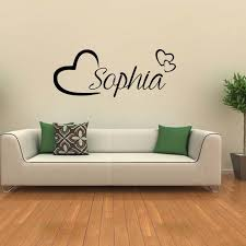 for personalised name wall art love hearts removable vinyl decal sticker girls room bedroom decorate diy wall sayings wall slicks from xymy757
