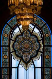 go to previous picture picture of stained glass window and chandelier in the main prayer hall