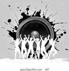 music speakers clipart. pal clipart of a group silhouetted dancers against gray grunge and music speakers