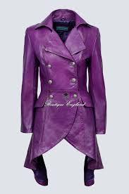 edwardian las purple real leather laced back jacket coat gothic 3492